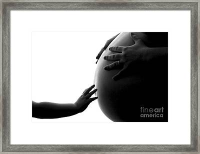 A Child's Reach To A Future Sibling Framed Print