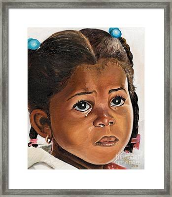 A Childs Tears Framed Print by Toni  Thorne
