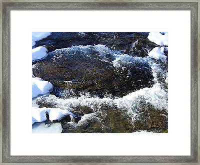 A Chilly Froth Circles A Resting Stone Framed Print by Terrance DePietro