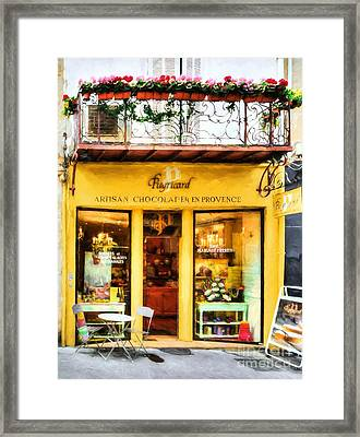 A Chocolate Shop In France Framed Print