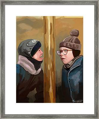 A Christmas Story Tongue Stuck To Pole Framed Print