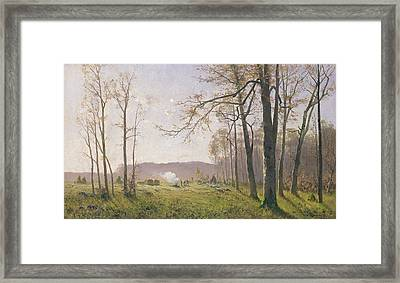 A Clearing In An Autumnal Wood Framed Print by Max Kuchel