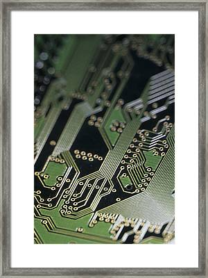 A Close View Of A Silicon Circuit Board Framed Print