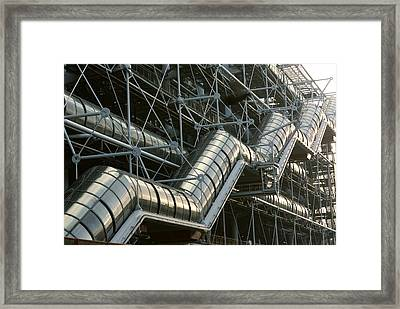 A Closeup Of A Modern Stairway Framed Print by Carsten Peter