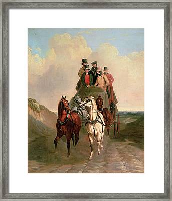 A Coach And Four On An Open Road  Framed Print by William Snr Shayer
