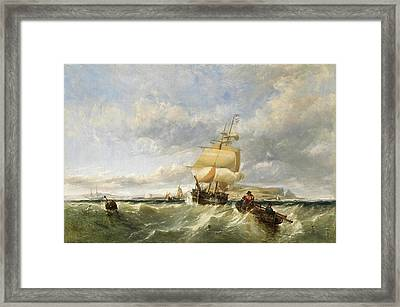 A Coastal Scene With Shipping Framed Print by Edwin Hayes