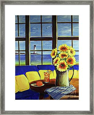 A Coastal Window Lighthouse View Framed Print