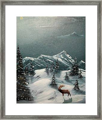 Framed Print featuring the painting A Cold Montana Night by Al  Johannessen