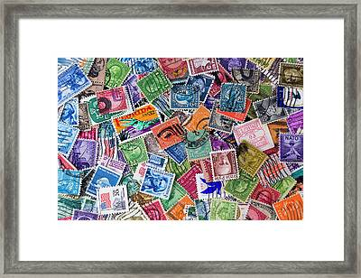 A Collection Of Used Us Postage Stamps Off Paper Framed Print by Jack R Perry