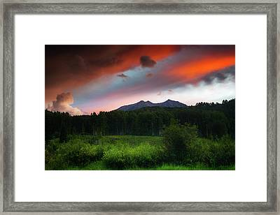 Framed Print featuring the photograph A Colorado Mountain Sunset by John De Bord