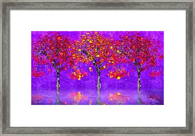 A Colorful Autumn Rainy Day Framed Print by Gabriella Weninger - David