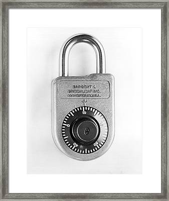 A Combination Padlock Framed Print by Underwood Archives