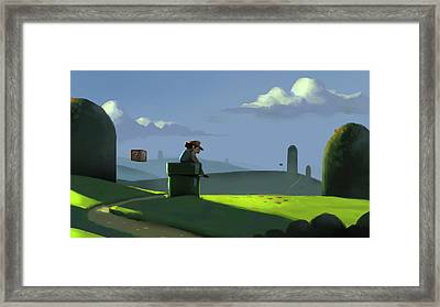 A Contemplative Plumber Framed Print