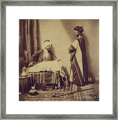 A Conversation While Smoking, 1858 Framed Print
