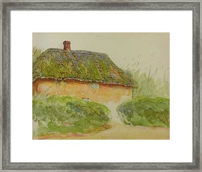 A Cottage By Two Hedges Framed Print