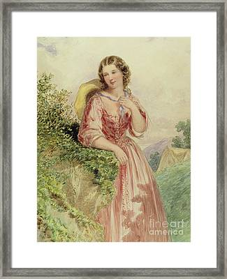 A Country Girl, 19th Century Framed Print