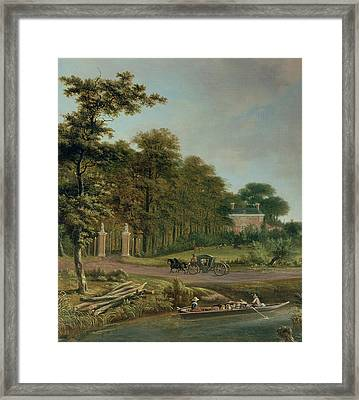 A Country House Framed Print by J Hackaert