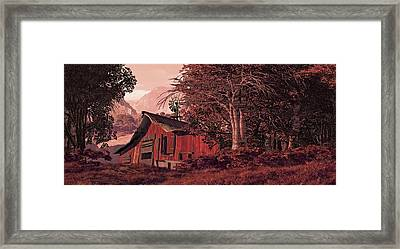 A Country Scene With Old Horse Barn And Windmill. Framed Print by Peter Nowell