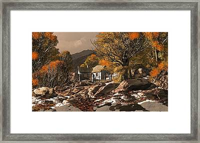 A Countryside Cottage With Patches Of Snow In The Fall Framed Print by Peter Nowell