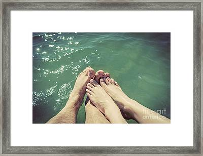 A Couple In Love Wetting Their Feet In The Sea. Summer Holidays. Vintage. Framed Print by Michal Bednarek