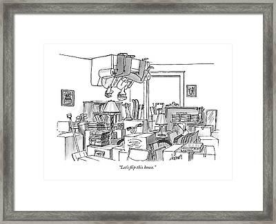 A Couple Sits On An Upside Down Sofa Framed Print