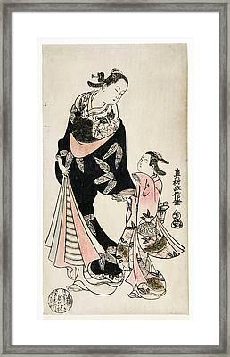 A Courtesan With A Servant Girl Who Gives Her A Letter Framed Print by Okumura Masanobu