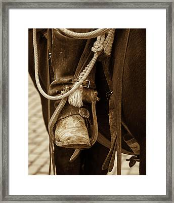 Framed Print featuring the photograph A Cowboy's Boot by Jeanne May