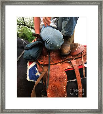 A Cowboy's Saddle  Framed Print by Steven Digman