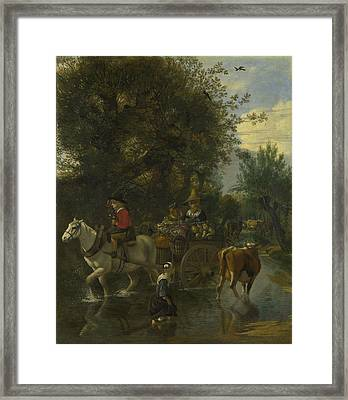 A Cowherd Passing A Horse And Cart In A Stream Framed Print by Jan Siberechts