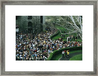 A Crowd Gathers Around Keenelands Framed Print