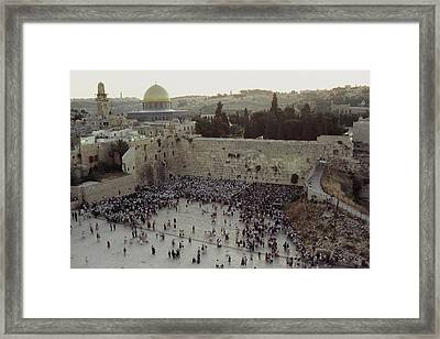 A Crowd Gathers Before The Wailing Wall Framed Print