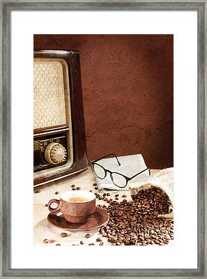 A Cup Of Coffee With Newspaper And Radio Framed Print by Wolfgang Steiner