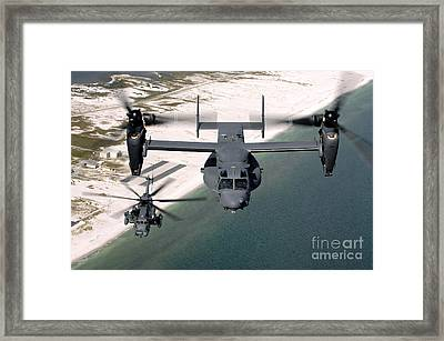 A Cv-22 Osprey And An Mh-53 Pave Low Framed Print by Stocktrek Images