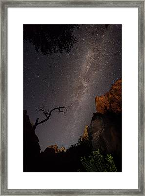 A Dark Night In Zion Canyon Framed Print
