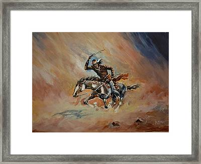 A Dash For Cover Racing Oncoming Sandstorm   Framed Print