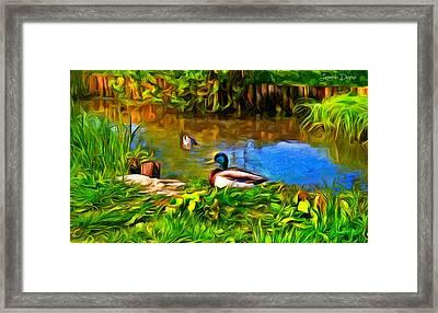 A Day At Lake - Da Framed Print