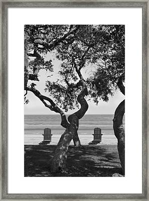 A Day At The Beach Bw Framed Print