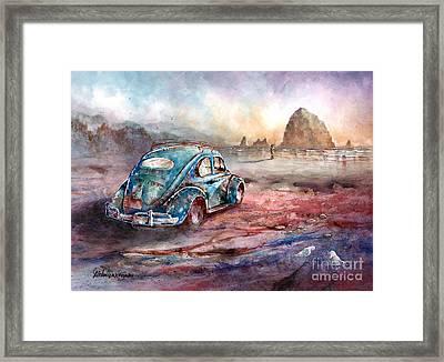 A Day At The Beach Cannon Beach Oregon Framed Print
