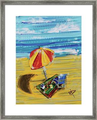 A Day At The Beach Framed Print by Russell Pierce
