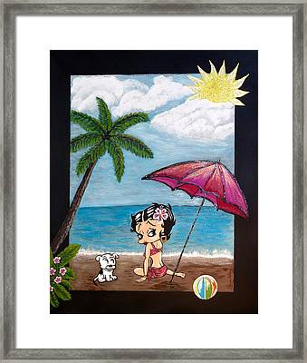 Framed Print featuring the painting A Day At The Beach by Teresa Wing
