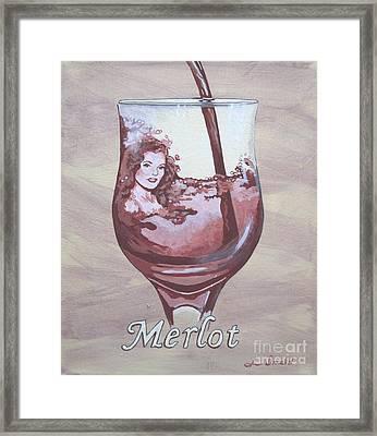 A Day Without Wine - Merlot Framed Print by Jennifer  Donald
