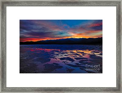 A Death Valley Sunset In The Badwater Basin Framed Print