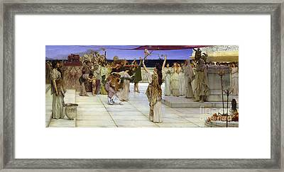 A Dedication To Bacchus Framed Print by Sir Lawrence Alma Tadema