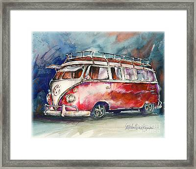 A Deluxe 15 Window Vw Bus Framed Print by Michael David Sorensen