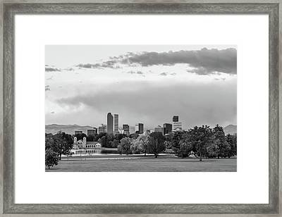 A Denver Morning - Colorado Cityscape Skyline In Black And White Framed Print by Gregory Ballos