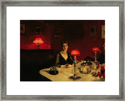 A Dinner Table At Night Framed Print by John Singer Sargent