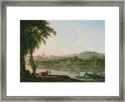A Distant View Of Rome Across The Tiber Framed Print by Jacob More