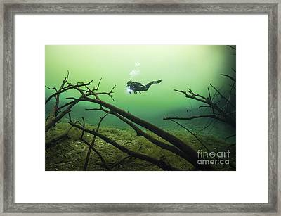 A Diver In The Car Wash Cenote System Framed Print