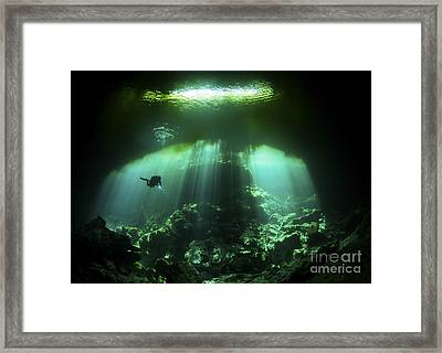 A Diver In The Garden Of Eden Cenote Framed Print