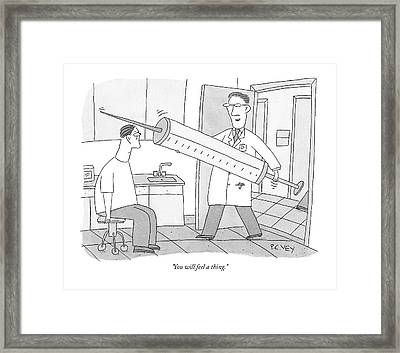 A Doctor Walks Into His Office To See A Patient Framed Print